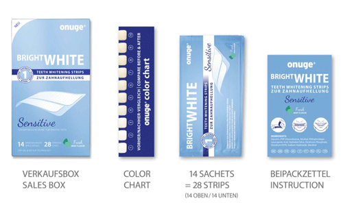 onuge bright white-strips sensitive Verpackungsinhalt