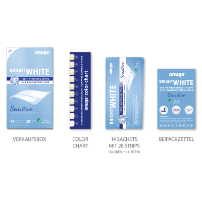 onuge white strips sensitive package content